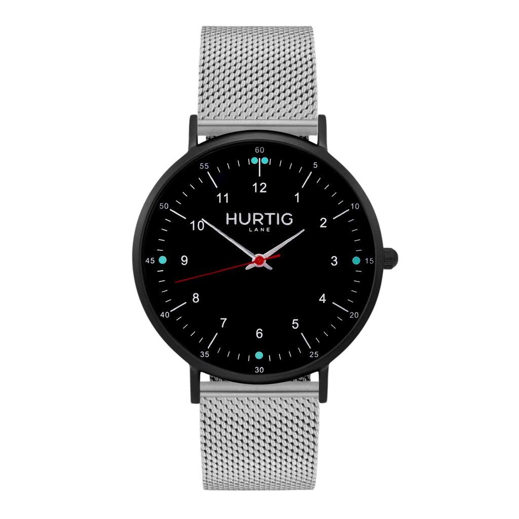 Moderno Stainless Steel Watch All Black & Rose Gold - Hurtig Lane - sustainable- vegan-ethical- cruelty free