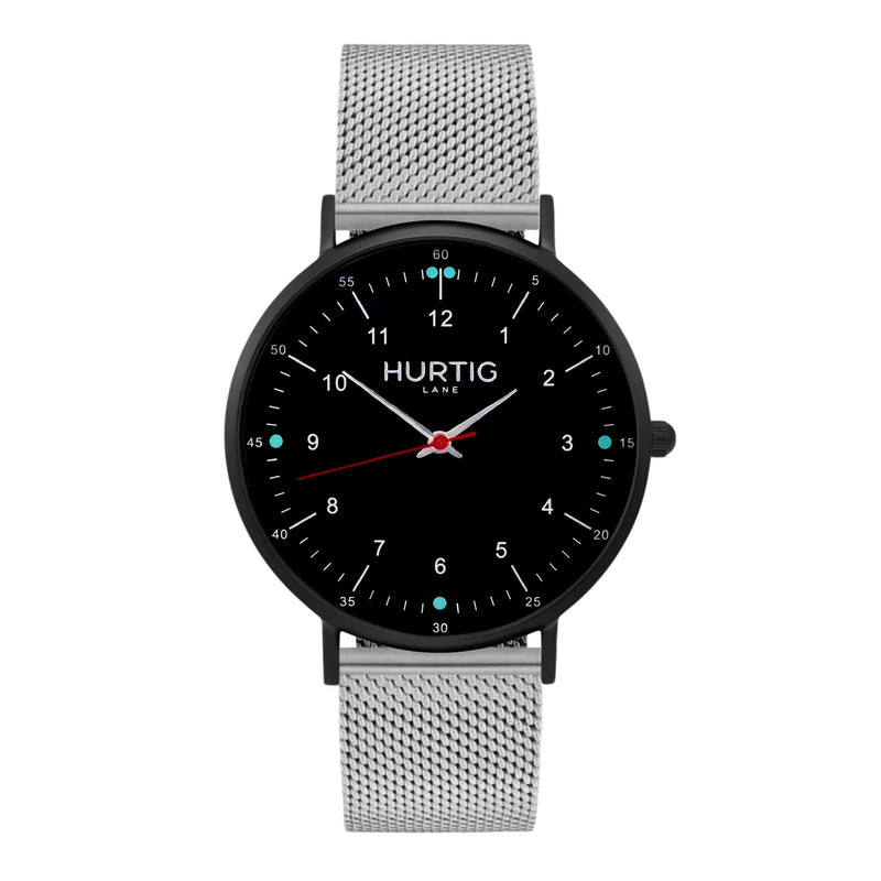 Moderno Stainless Steel Watch All Black & Silver - Hurtig Lane - sustainable- vegan-ethical- cruelty free