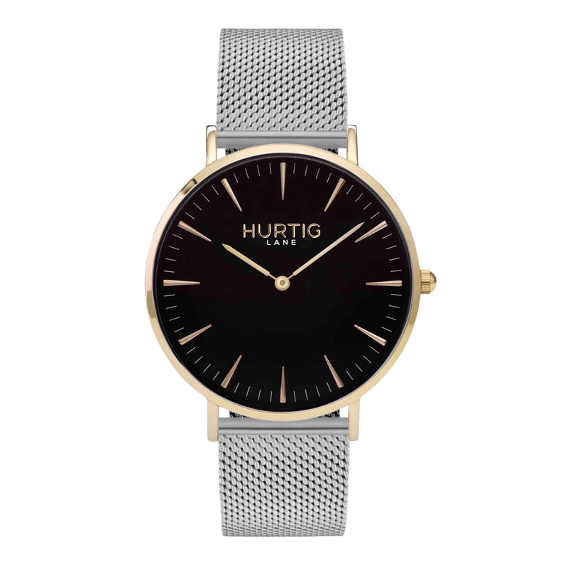 Lorelai Stainless Steel Watch Gold, Black & Silver - Hurtig Lane - sustainable- vegan-ethical- cruelty free