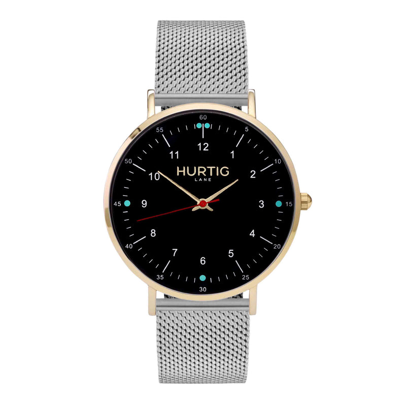 Moderna Stainless Steel Watch Gold, Black & Silver - Hurtig Lane - sustainable- vegan-ethical- cruelty free