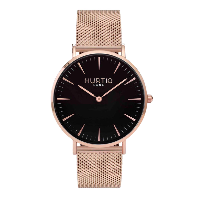 Lorelai Stainless Steel Watch Rose Gold, Black & Silver - Hurtig Lane - sustainable- vegan-ethical- cruelty free