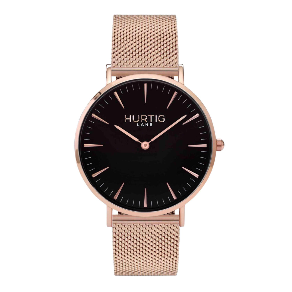 Lorelai Stainless Steel Watch Rose Gold, Black & Rose Gold - Hurtig Lane - sustainable- vegan-ethical- cruelty free