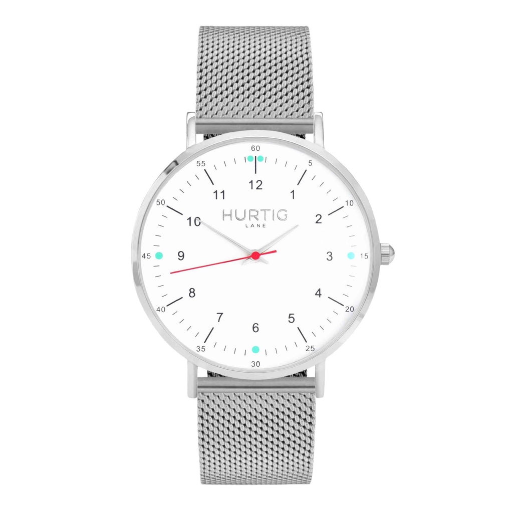 Moderno Stainless Steel Watch Silver, White & Silver - Hurtig Lane - sustainable- vegan-ethical- cruelty free