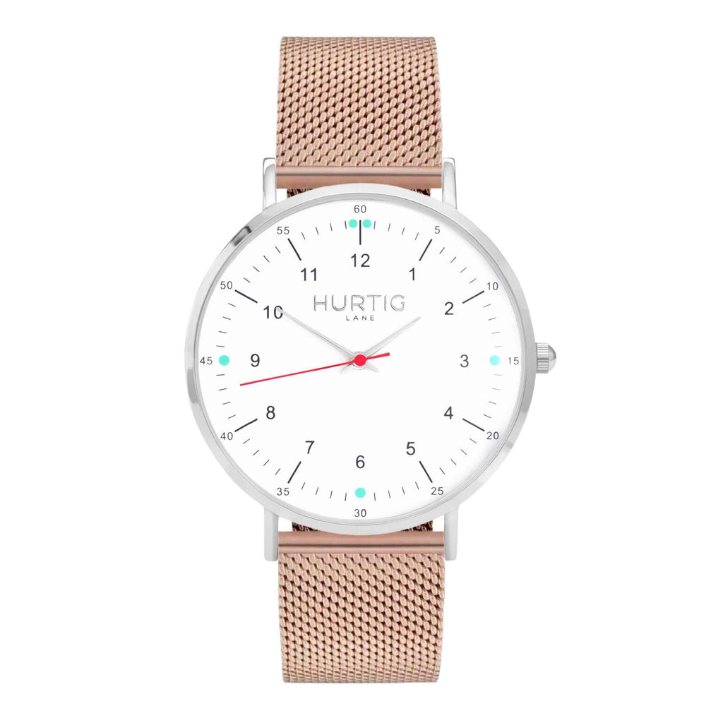 Moderno Stainless Steel Watch Silver, White & Rose Gold - Hurtig Lane - sustainable- vegan-ethical- cruelty free