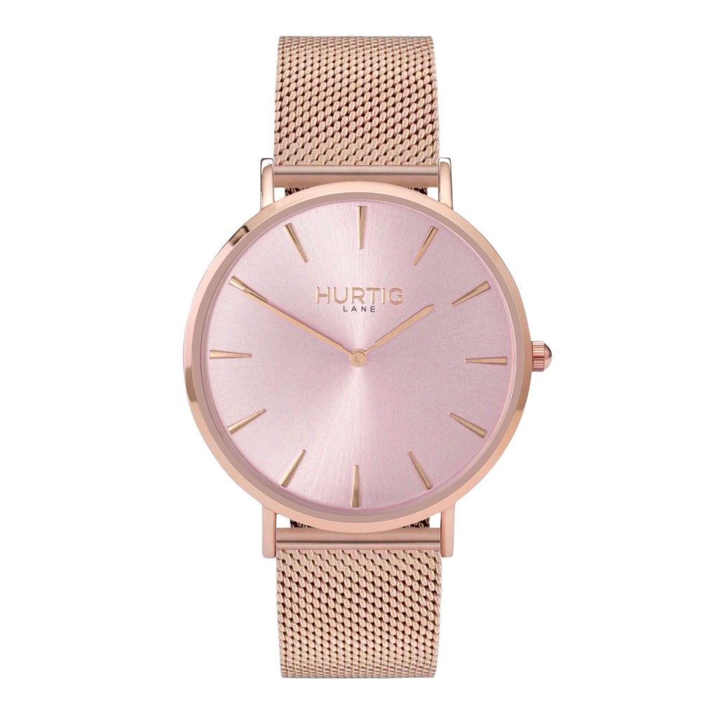 Lorelai Stainless Steel Watch All Rose & Silver - Hurtig Lane - sustainable- vegan-ethical- cruelty free