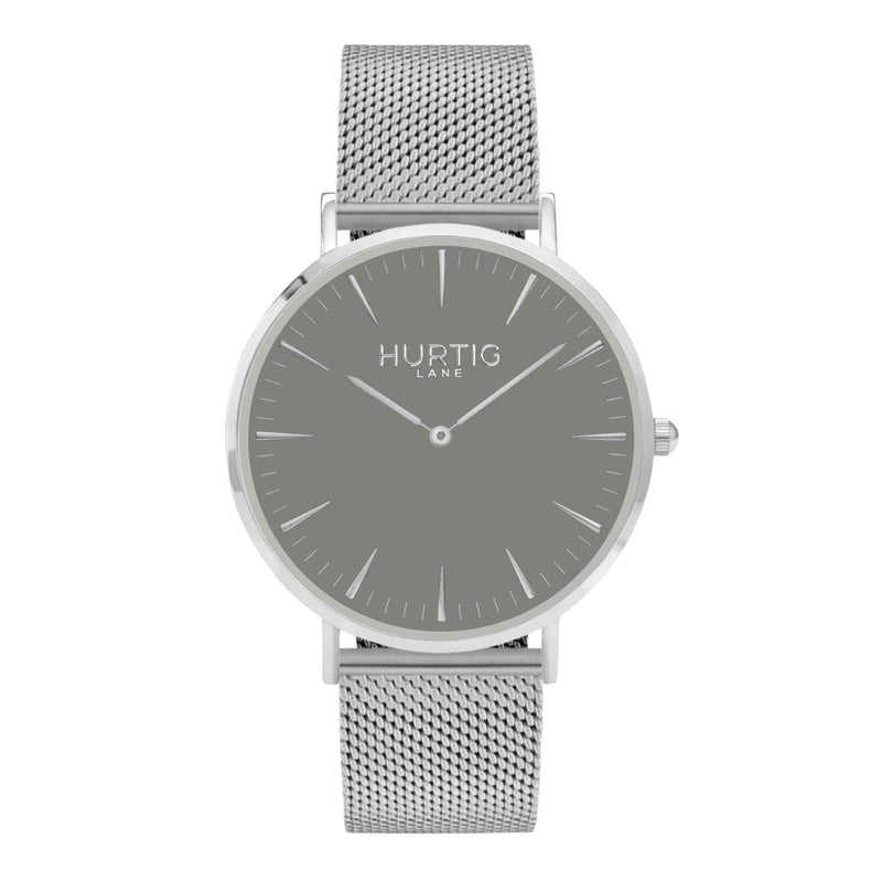 Lorelai Stainless Steel Watch Silver, Grey & Silver - Hurtig Lane - sustainable- vegan-ethical- cruelty free