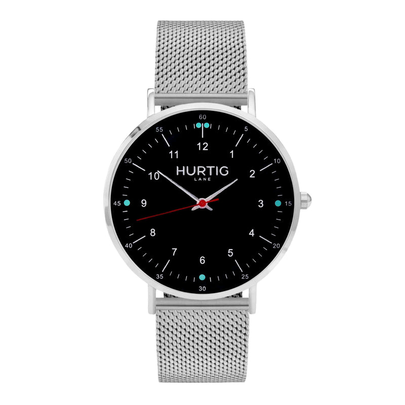 Moderno Stainless Steel Watch Silver, Black & Silver - Hurtig Lane - sustainable- vegan-ethical- cruelty free
