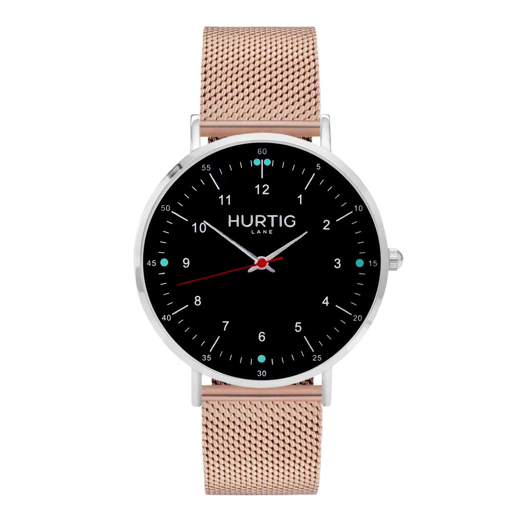 Moderno Stainless Steel Watch Silver, Black & Rose Gold - Hurtig Lane - sustainable- vegan-ethical- cruelty free