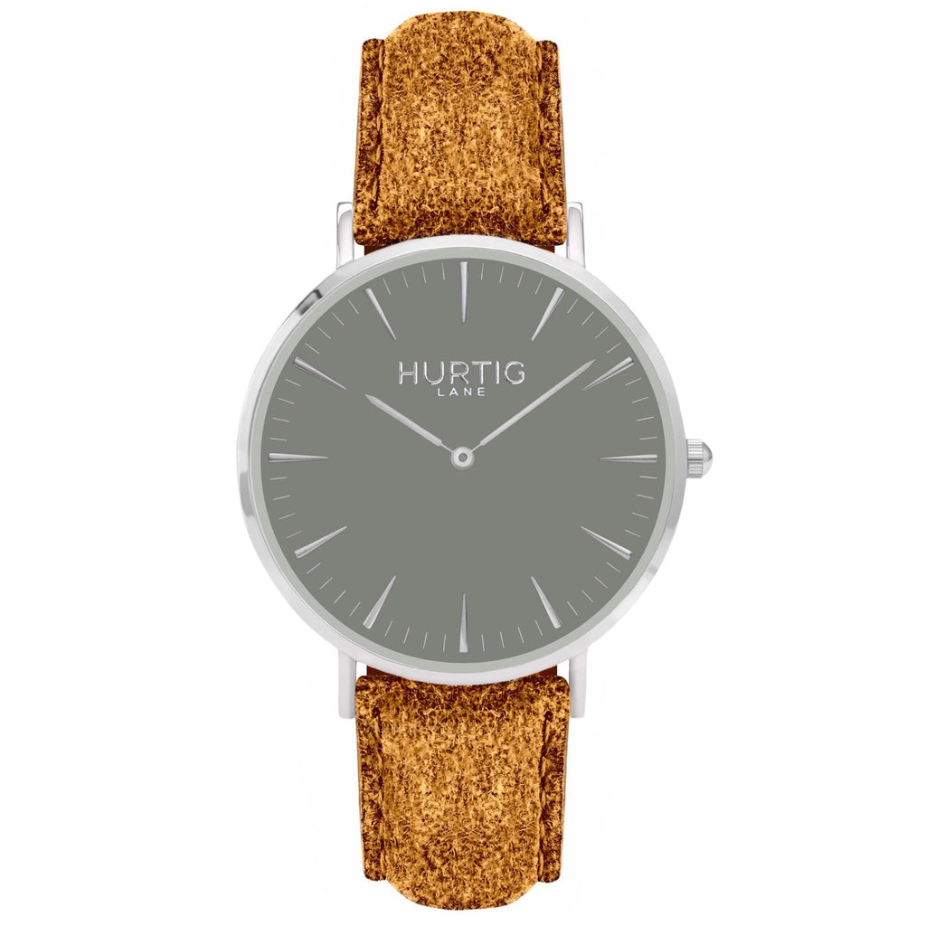 Hymnal Vegan Watch Tweed Silver, Grey & Camel Brown - Hurtig Lane - sustainable- vegan-ethical- cruelty free