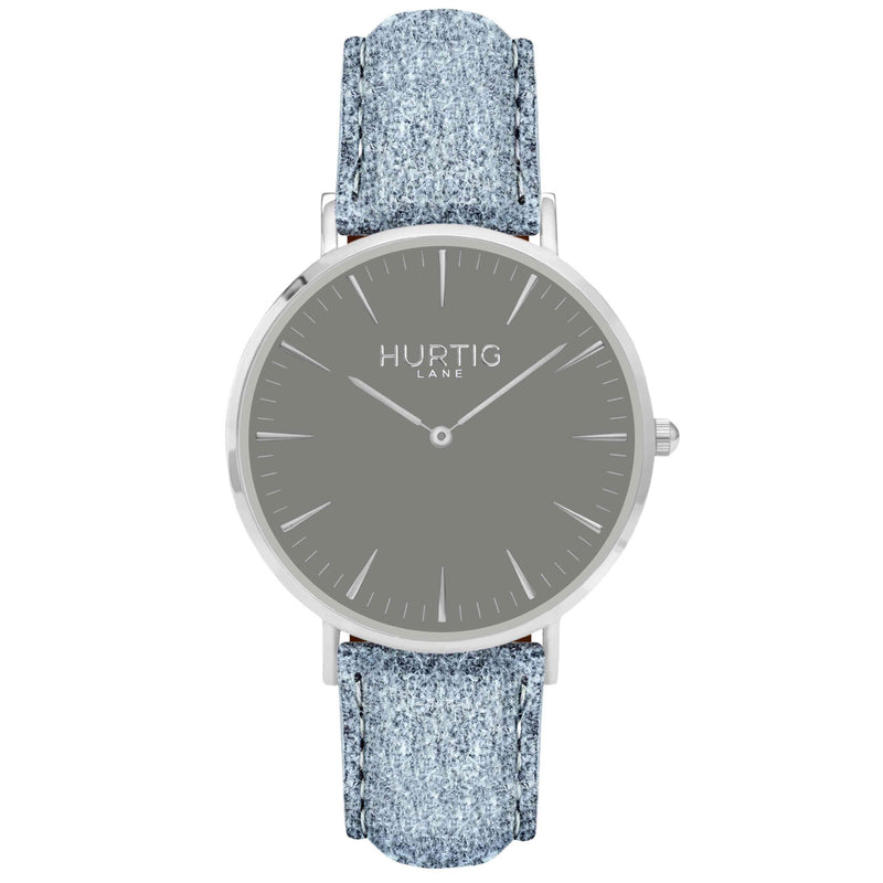 Hymnal Vegan Suede Watch Silver, Grey & Mustard - Hurtig Lane - sustainable- vegan-ethical- cruelty free