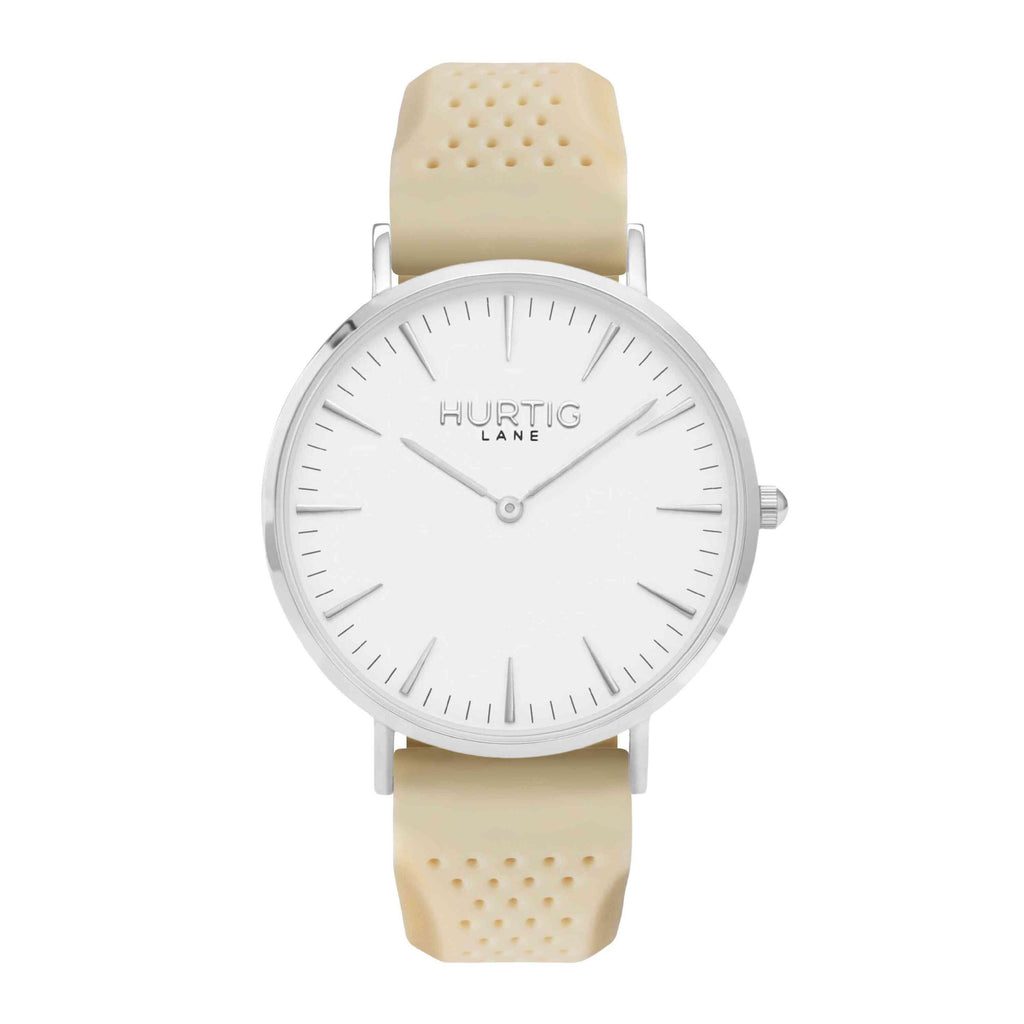 Attivo Vegan Rubber Watch Silver, White & Dark Grey - Hurtig Lane - sustainable- vegan-ethical- cruelty free