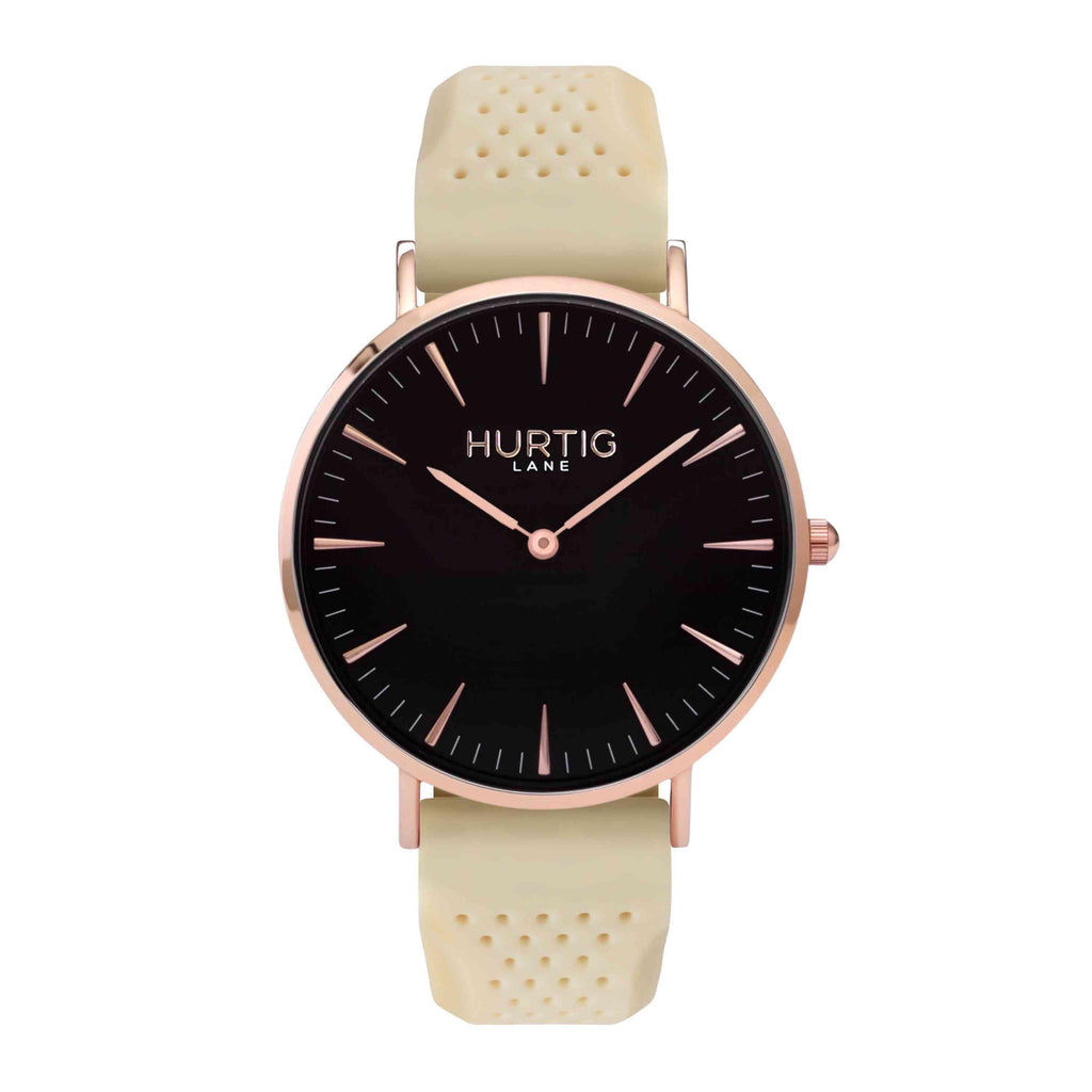 Attivo Vegan Rubber Watch Rose Gold, Black & Cream - Hurtig Lane - sustainable- vegan-ethical- cruelty free