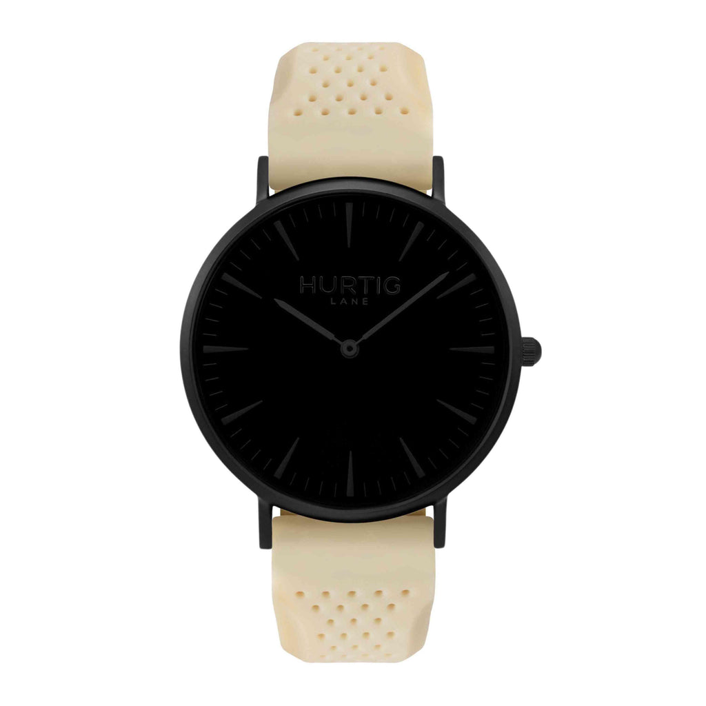 Attivo Vegan Rubber Watch All Black & Cream - Hurtig Lane - sustainable- vegan-ethical- cruelty free