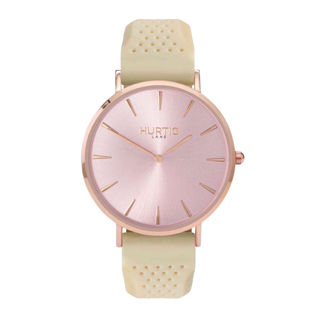 Attiva Vegan Rubber Watch All Rose Gold & Cream - Hurtig Lane - sustainable- vegan-ethical- cruelty free