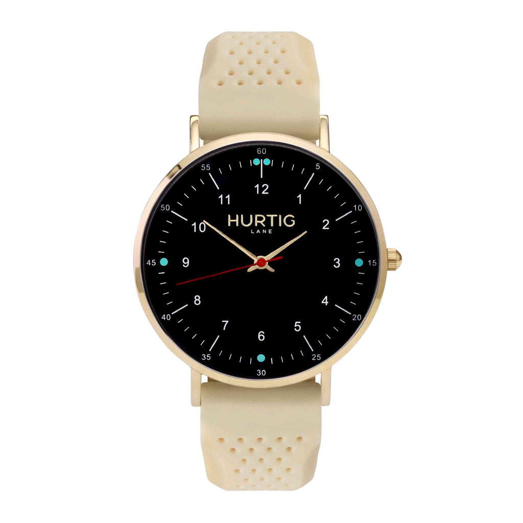 Moderna Vegan Rubber Watch Gold, Black & Cream - Hurtig Lane - sustainable- vegan-ethical- cruelty free