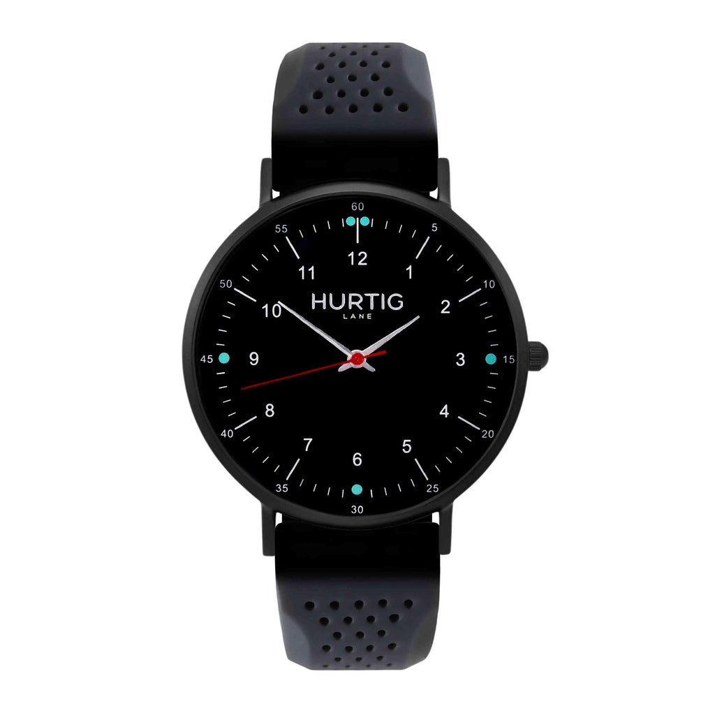 Moderna Vegan Rubber Watch  All Black & Dark Grey - Hurtig Lane - sustainable- vegan-ethical- cruelty free