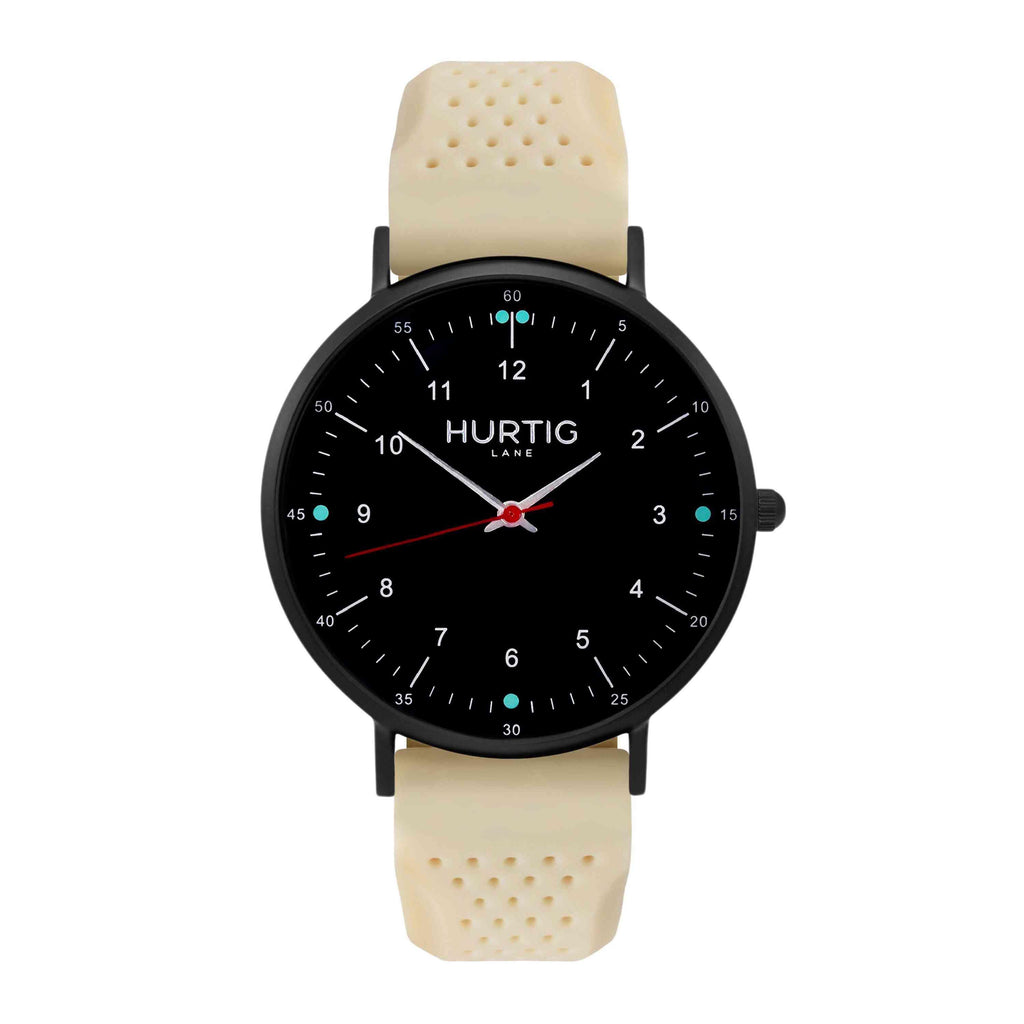 Moderno Vegan Rubber Watch All Black & Dark Grey - Hurtig Lane - sustainable- vegan-ethical- cruelty free