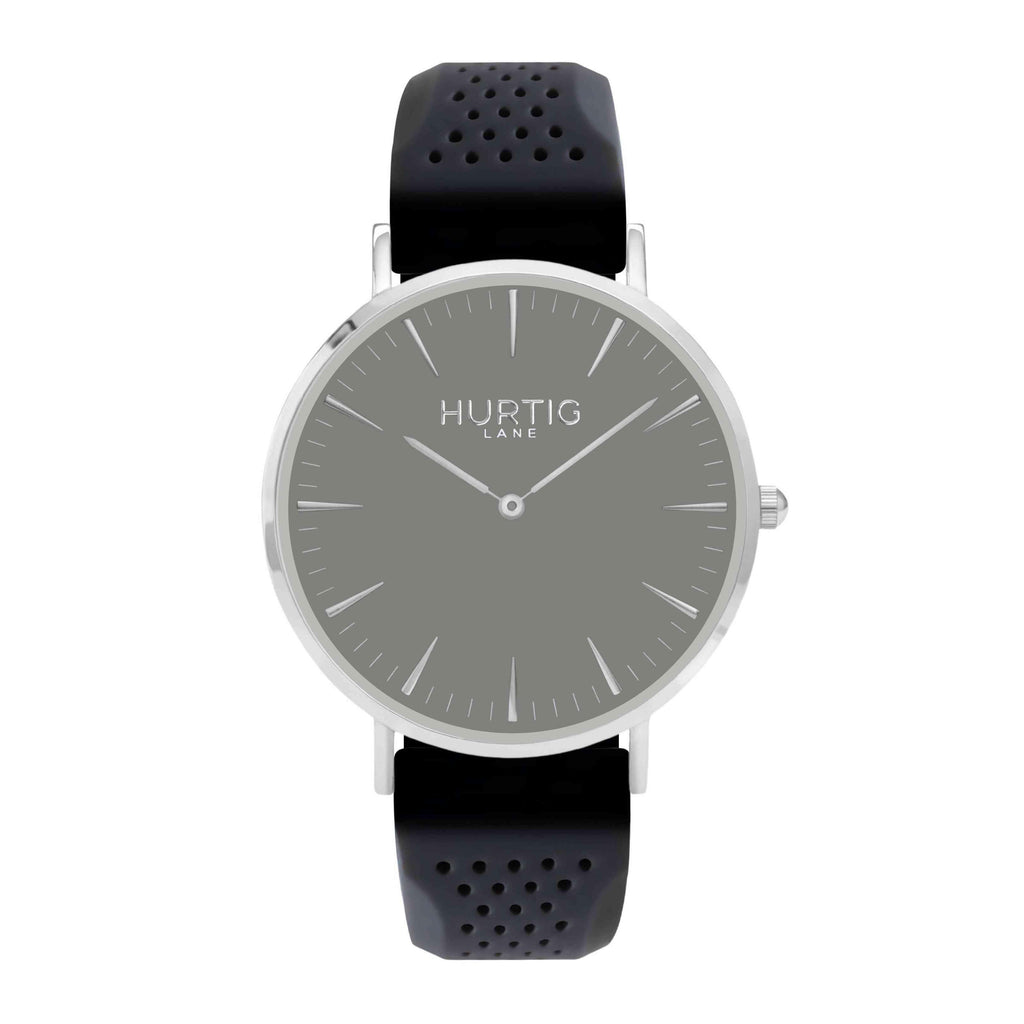 Attiva Vegan Rubber Watch Silver, Grey & Dark Grey - Hurtig Lane - sustainable- vegan-ethical- cruelty free