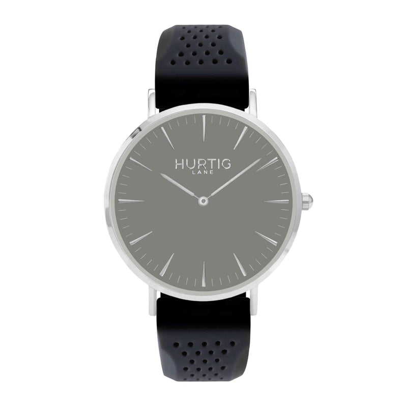 Attivo Vegan Rubber Watch Silver, Grey & Dark Grey - Hurtig Lane - sustainable- vegan-ethical- cruelty free