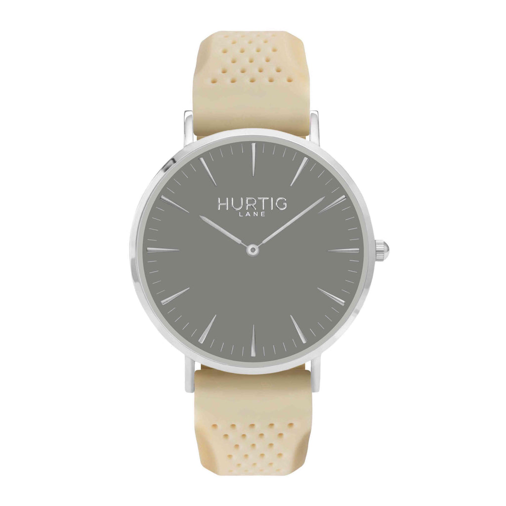 Attivo Vegan Rubber Watch Silver, Grey & Cream - Hurtig Lane - sustainable- vegan-ethical- cruelty free