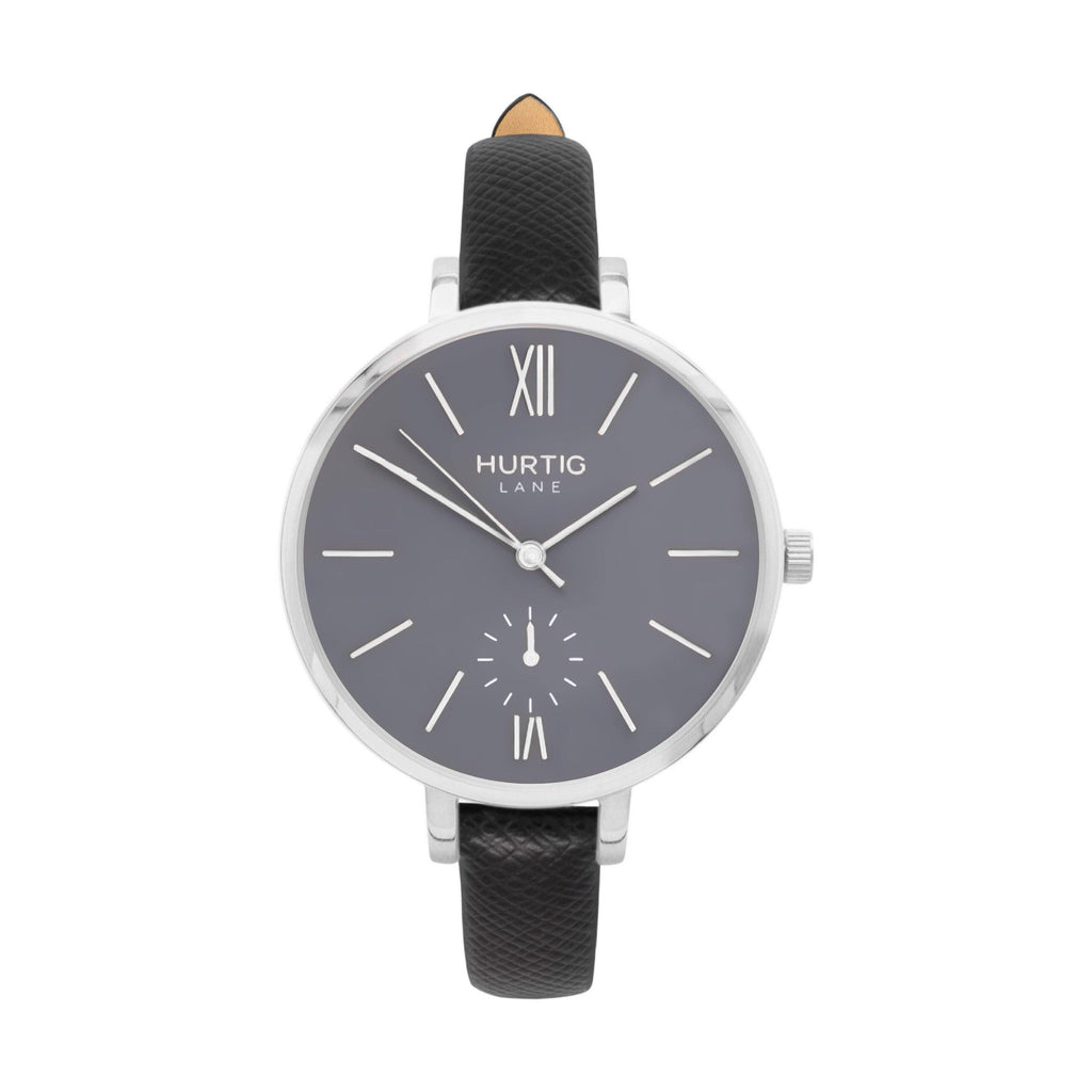 Amalfi Petite Vegan Leather Watch Silver, Grey & Black - Hurtig Lane - sustainable- vegan-ethical- cruelty free
