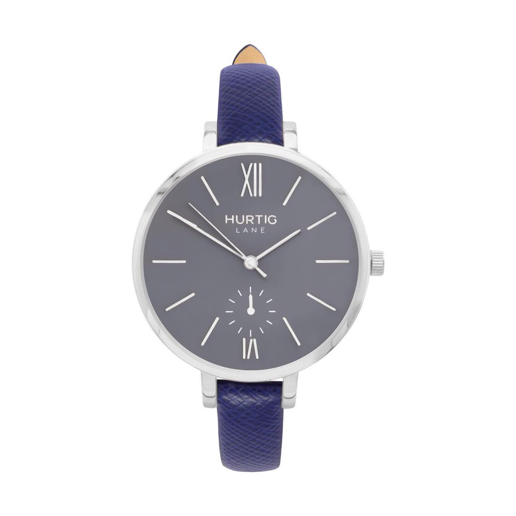Amalfi Petite Vegan Leather Watch Silver, Grey & Marine Blue - Hurtig Lane - sustainable- vegan-ethical- cruelty free
