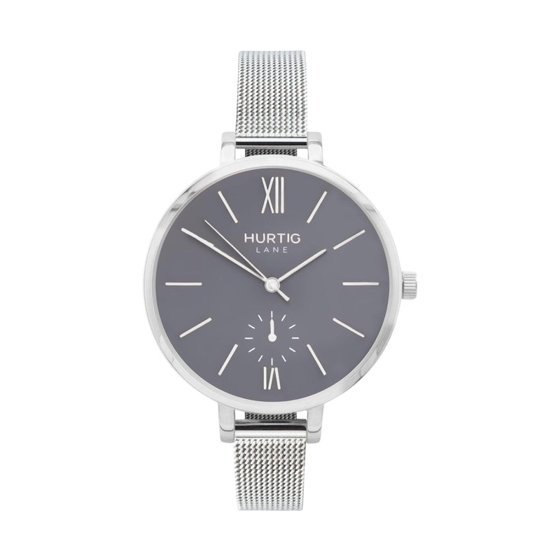 Amalfi Petite Vegan Leather Watch Silver, Grey & Forest Green - Hurtig Lane - sustainable- vegan-ethical- cruelty free