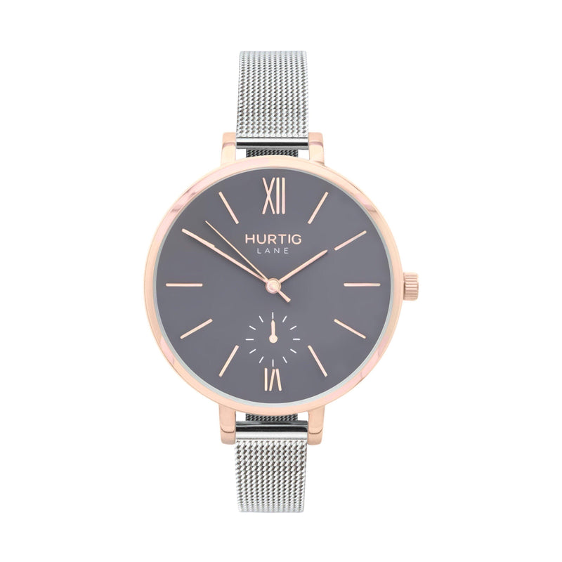 Amalfi Petite Vegan Leather Watch Rose Gold, Grey & Grey - Hurtig Lane - sustainable- vegan-ethical- cruelty free