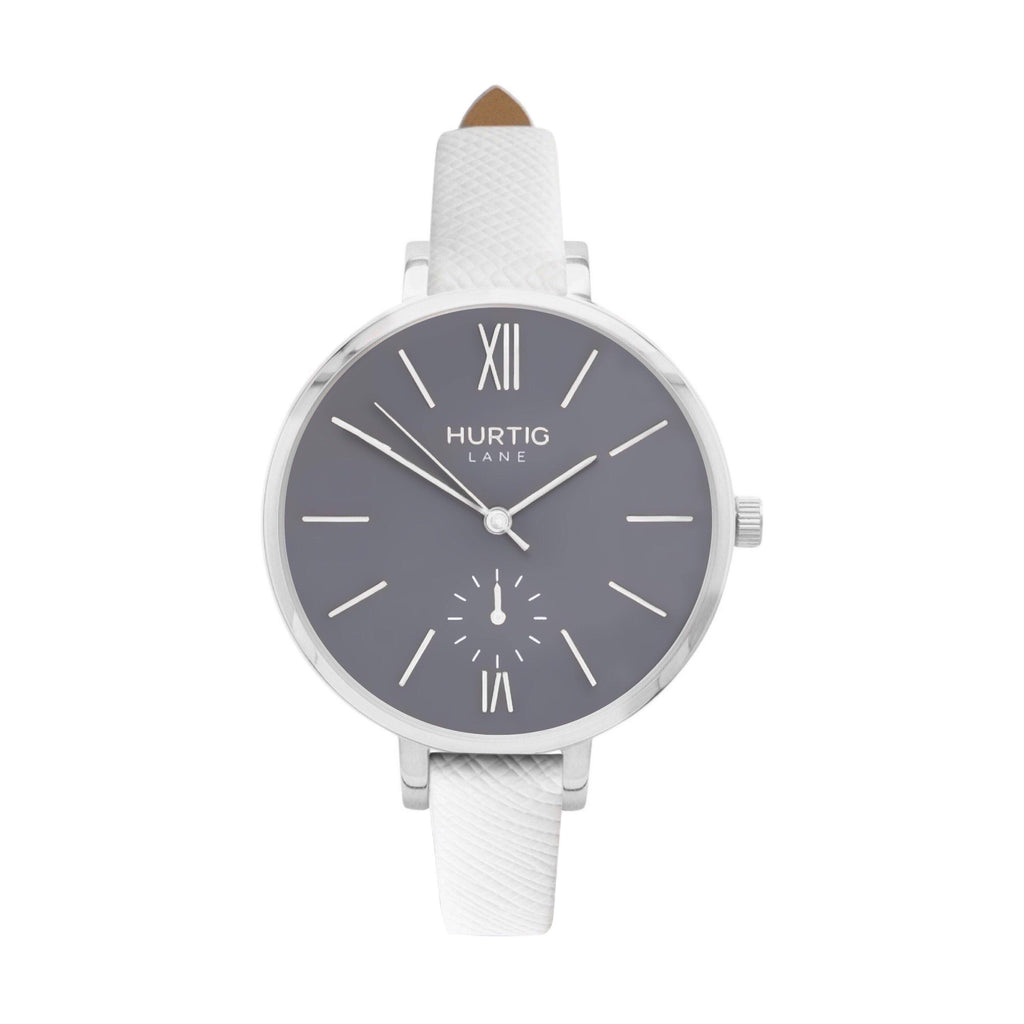 Amalfi Petite Vegan Leather Watch Silver, Grey & White - Hurtig Lane - sustainable- vegan-ethical- cruelty free