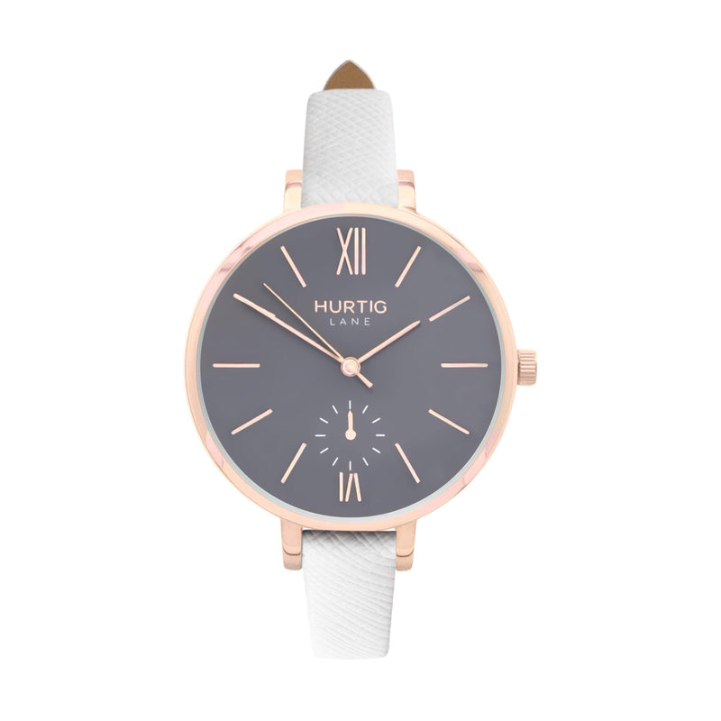 Amalfi Petite Vegan Leather Watch Rose Gold, Grey & Tan - Hurtig Lane - sustainable- vegan-ethical- cruelty free