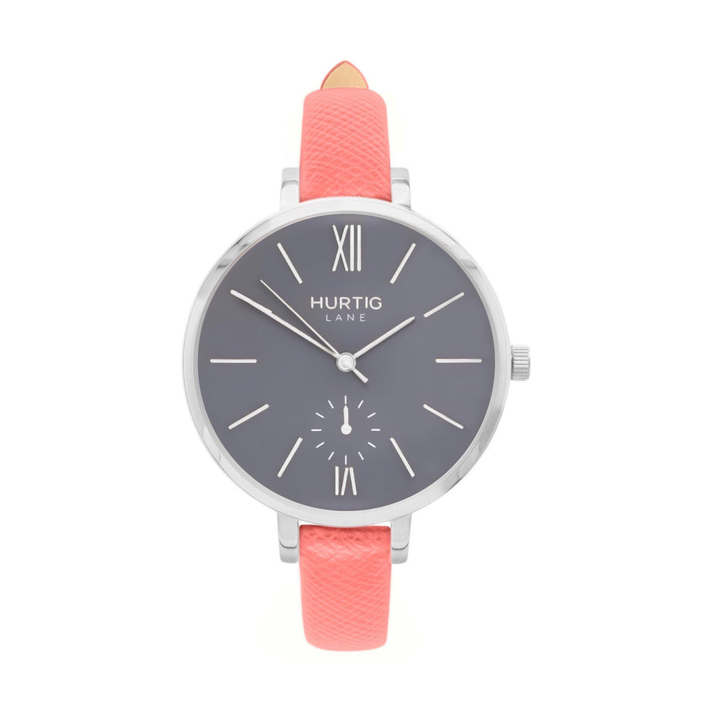 Amalfi Petite Vegan Leather Watch Silver, Grey & Coral - Hurtig Lane - sustainable- vegan-ethical- cruelty free