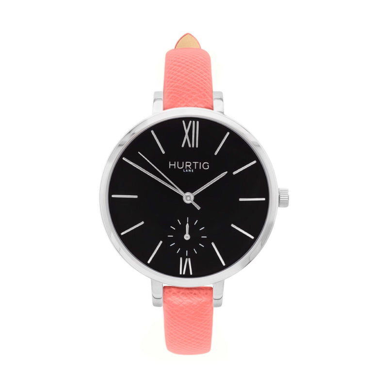 Amalfi Petite Stainless Steel Watch Silver, Black & Silver - Hurtig Lane - sustainable- vegan-ethical- cruelty free