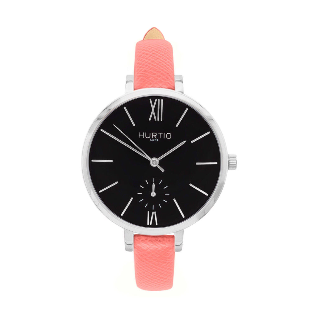Amalfi Petite Vegan Leather Watch Silver, Black & Coral - Hurtig Lane - sustainable- vegan-ethical- cruelty free