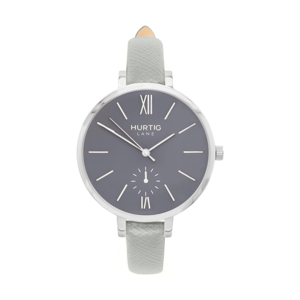Amalfi Petite Vegan Leather Watch Silver, Grey & Grey - Hurtig Lane - sustainable- vegan-ethical- cruelty free