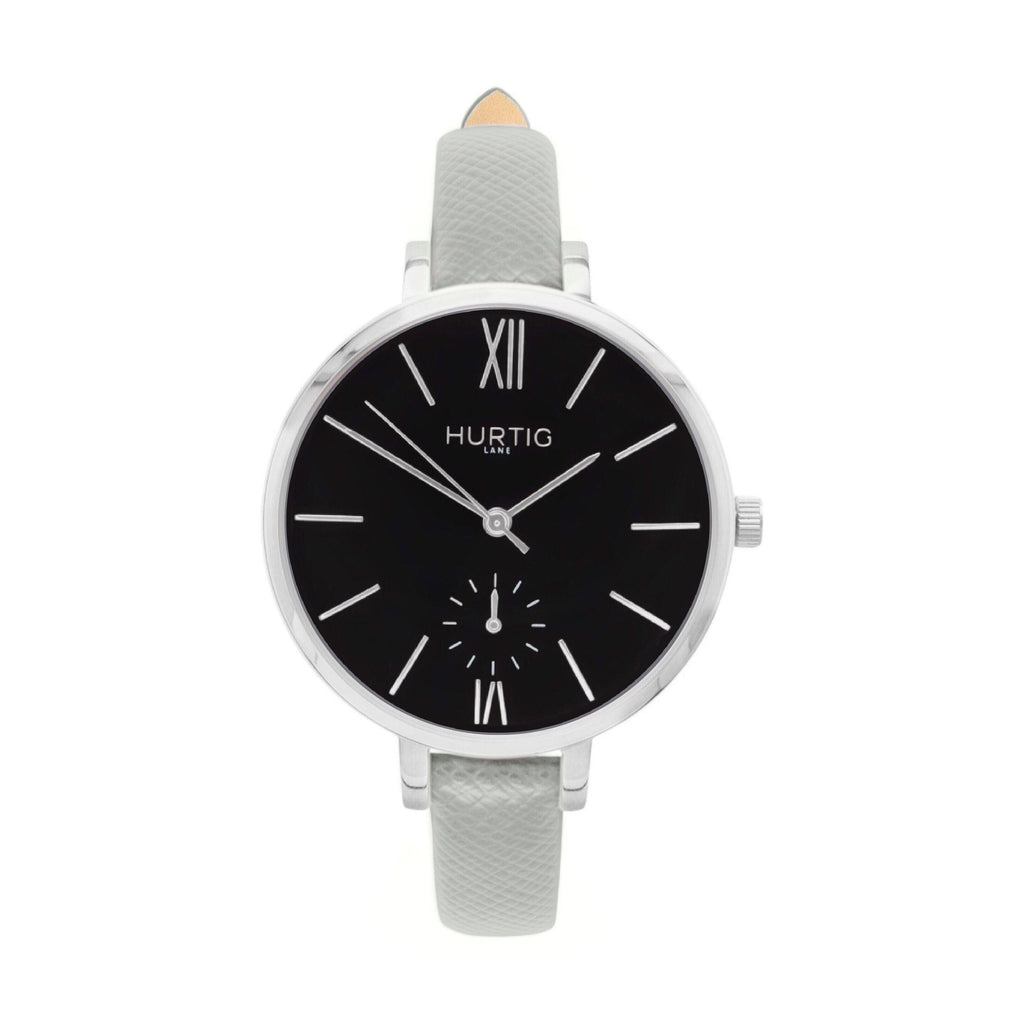 Amalfi Petite Vegan Leather Watch Silver, Black & Grey - Hurtig Lane - sustainable- vegan-ethical- cruelty free