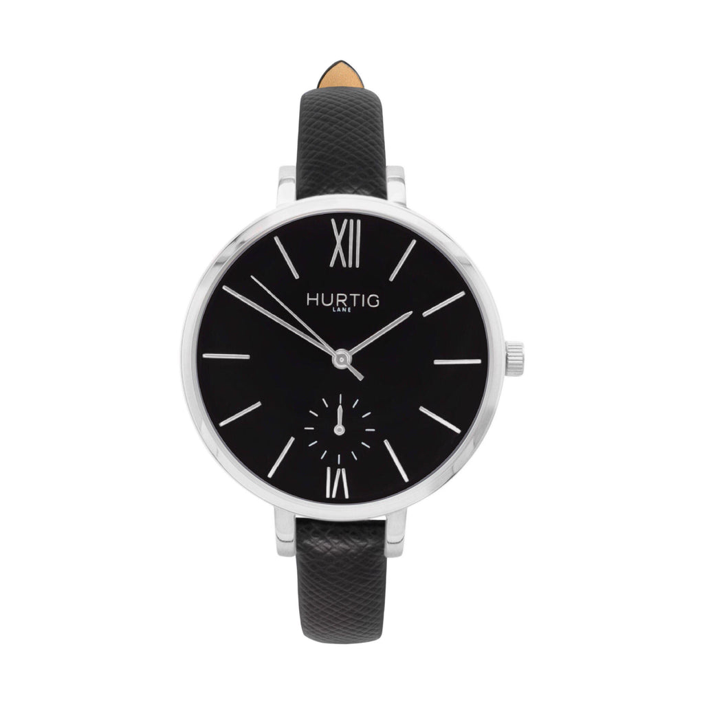 Amalfi Petite Vegan Leather Watch Silver, Black & Black - Hurtig Lane - sustainable- vegan-ethical- cruelty free
