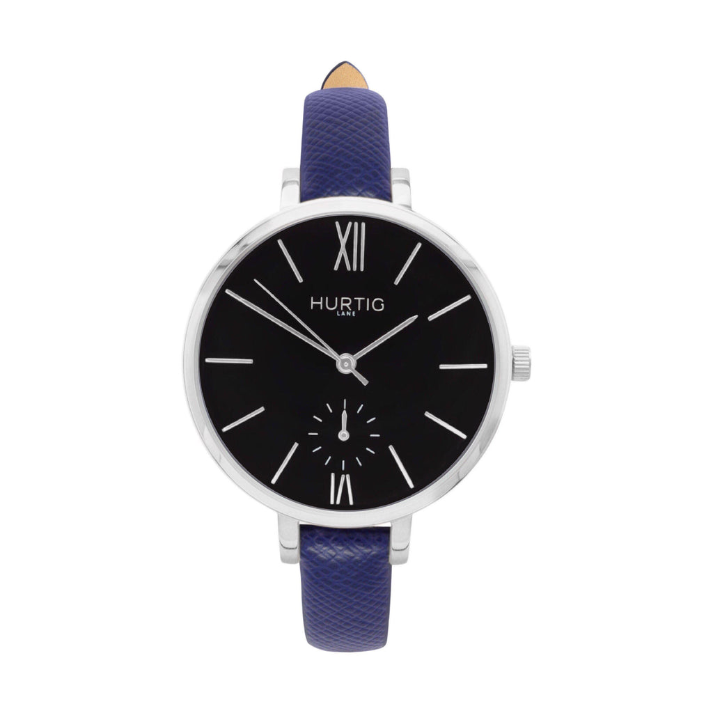 Amalfi Petite Vegan Leather Watch Silver, Black & Marine Blue - Hurtig Lane - sustainable- vegan-ethical- cruelty free