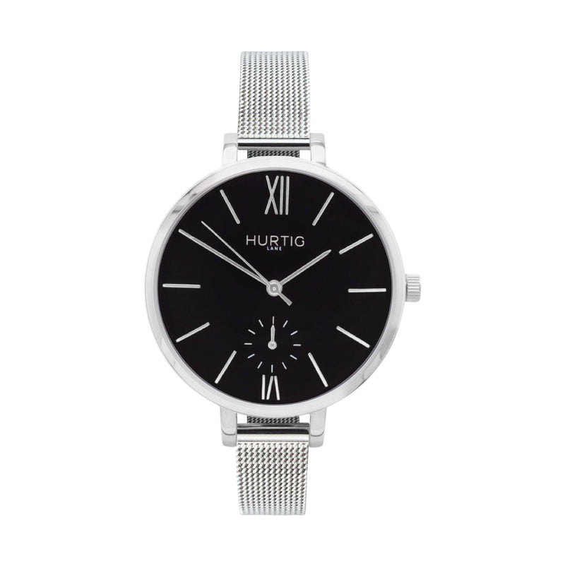 Amalfi Petite Vegan Leather Watch Silver, Black & Tan - Hurtig Lane - sustainable- vegan-ethical- cruelty free