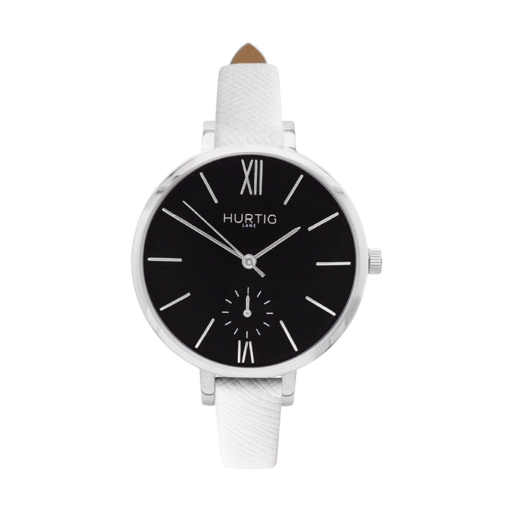 Amalfi Petite Vegan Leather Watch Silver, Black & White - Hurtig Lane - sustainable- vegan-ethical- cruelty free