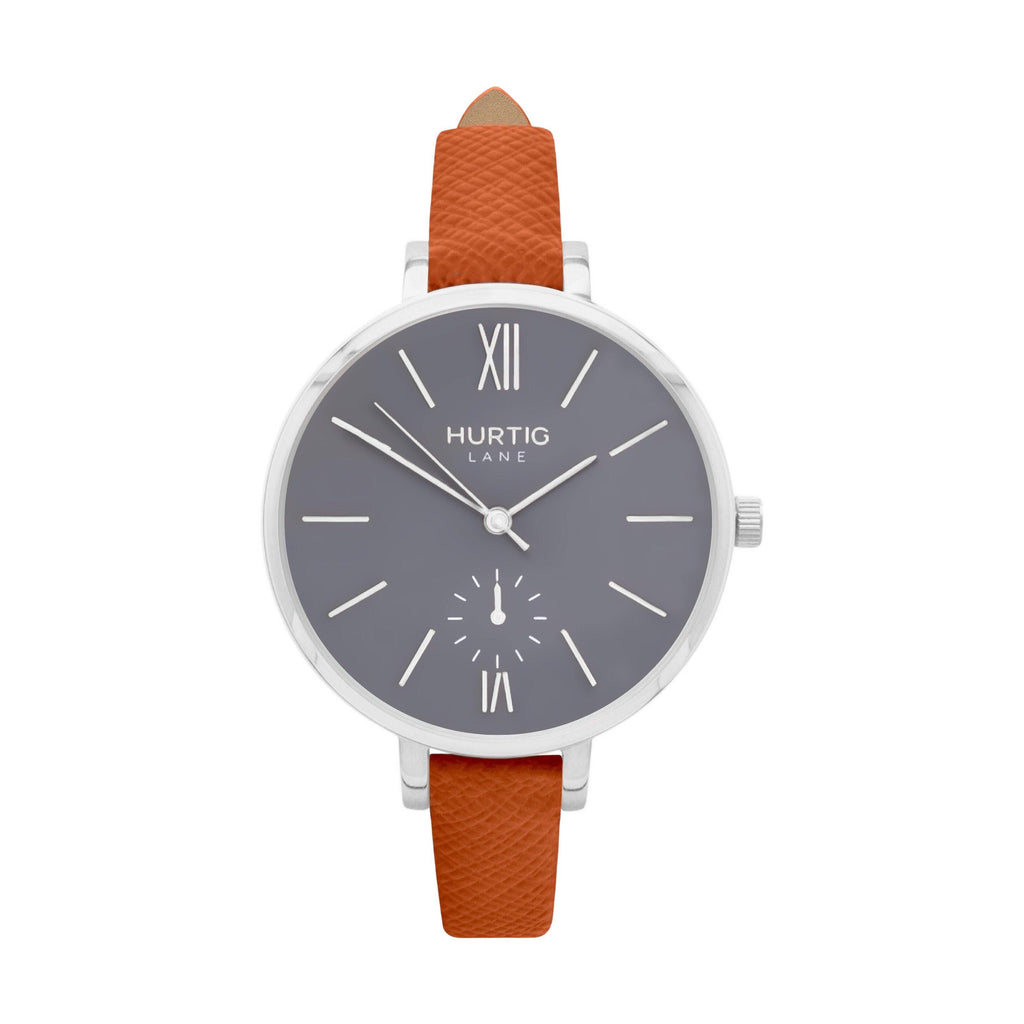 Amalfi Petite Vegan Leather Watch Silver, Grey & Tan - Hurtig Lane - sustainable- vegan-ethical- cruelty free