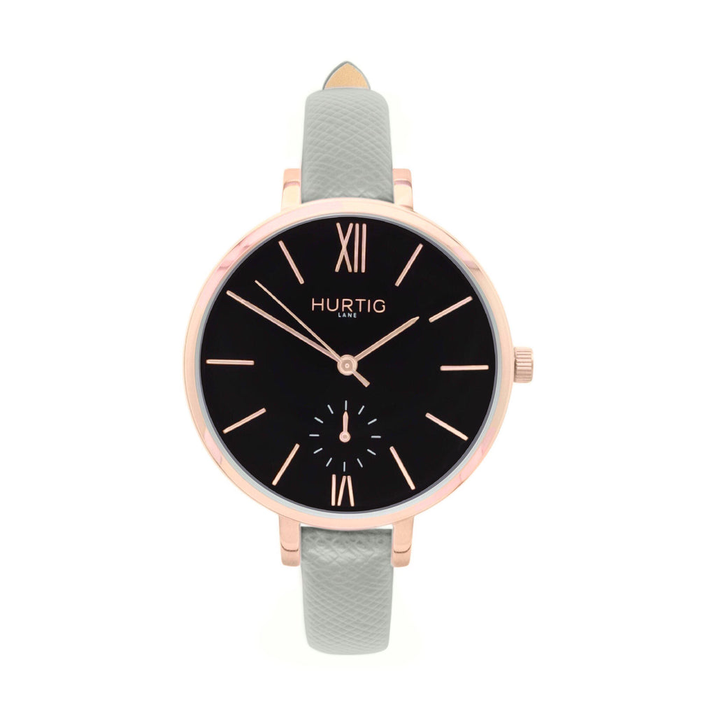damen vegane uhr. women's vegan watch. Rose gold, black and grey
