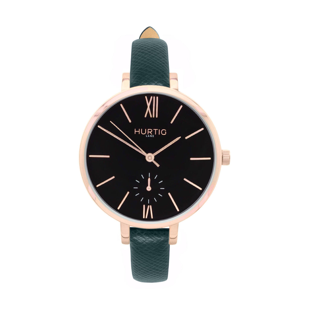 damen vegane uhr. women's vegan watch. Rose gold, black and green