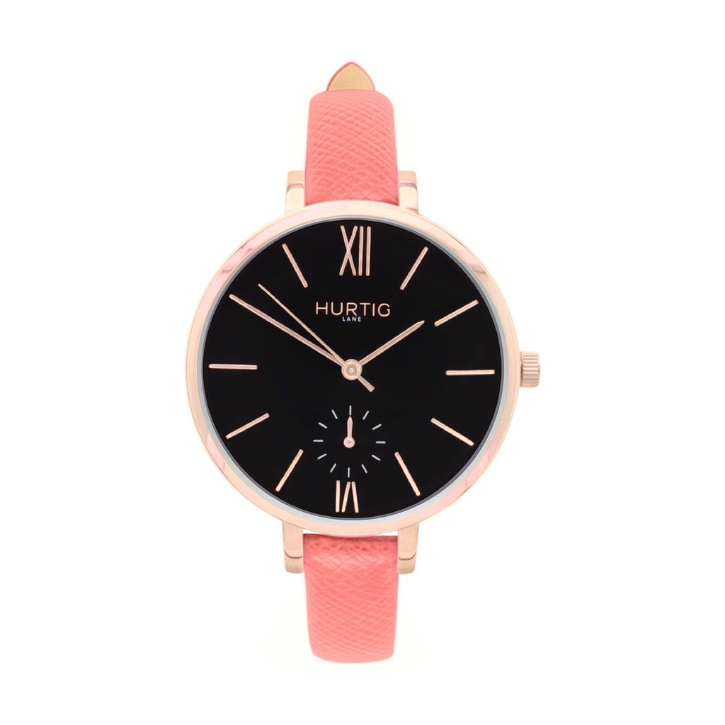 damen vegane uhr. women's vegan watch. Rose gold, black and pink