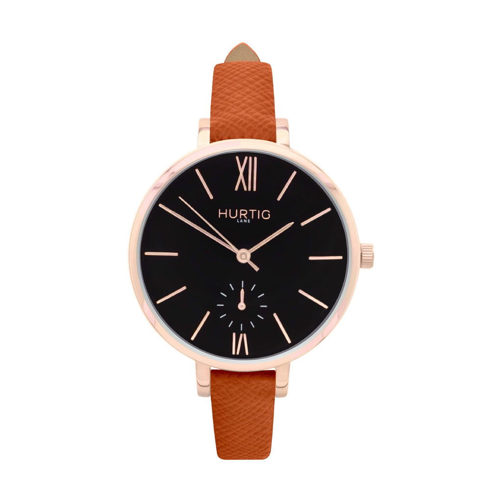 damen vegane uhr. women's vegan watch. Rose gold, black and brown