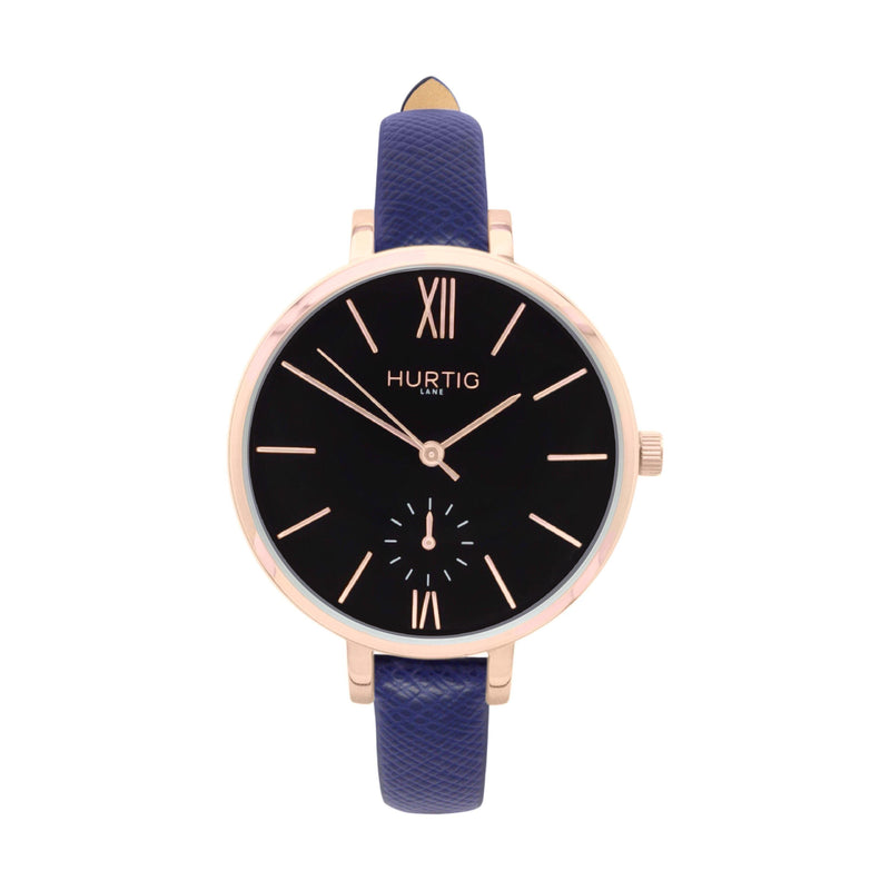 damen vegane uhr. women's vegan watch. Rose gold, black and blue