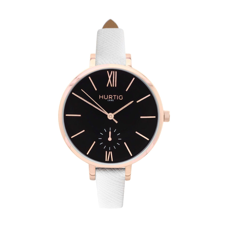 damen vegane uhr. women's vegan watch. Rose gold, black and white