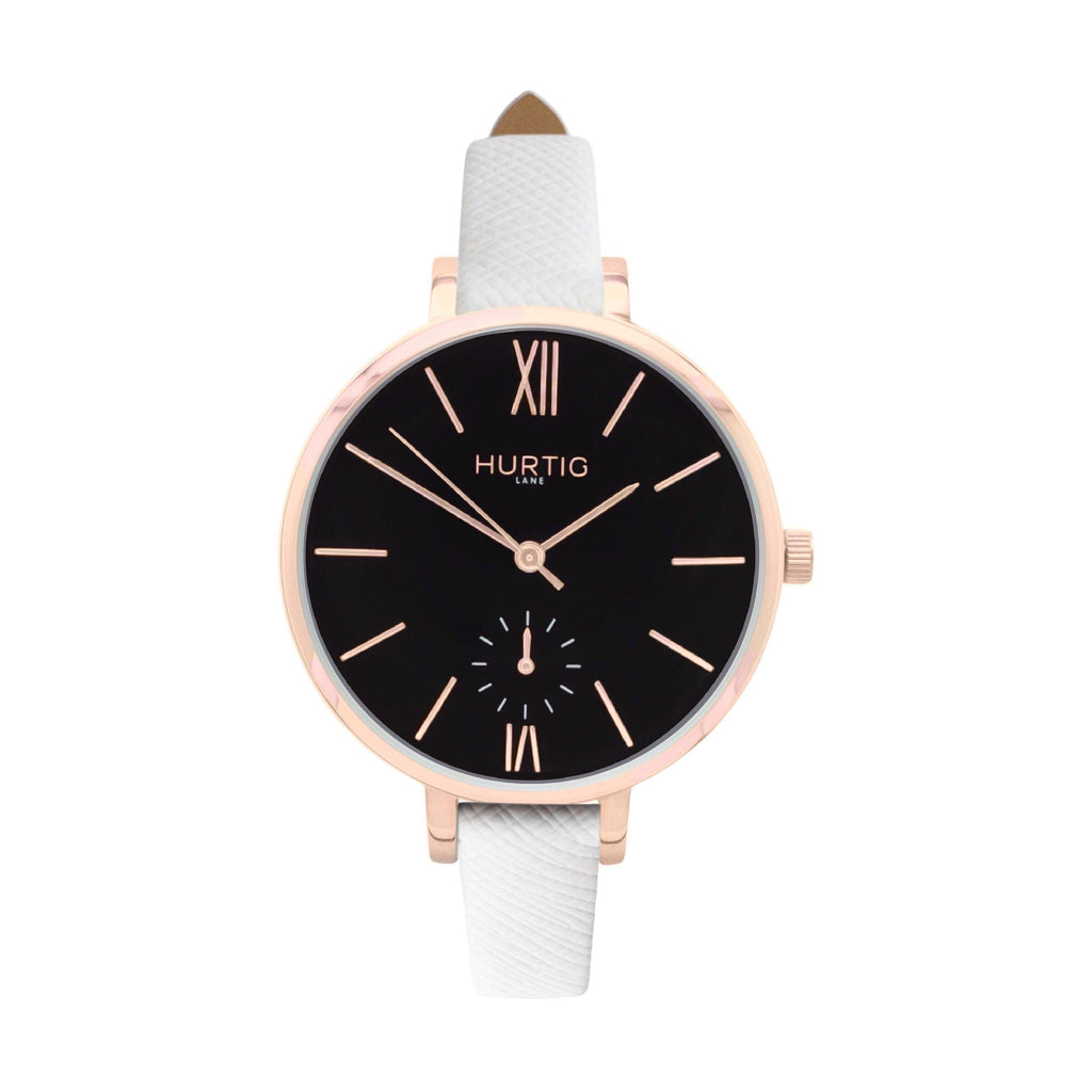 Amalfi Petite Vegan Leather Watch Rose Gold, Black & White - Hurtig Lane - sustainable- vegan-ethical- cruelty free