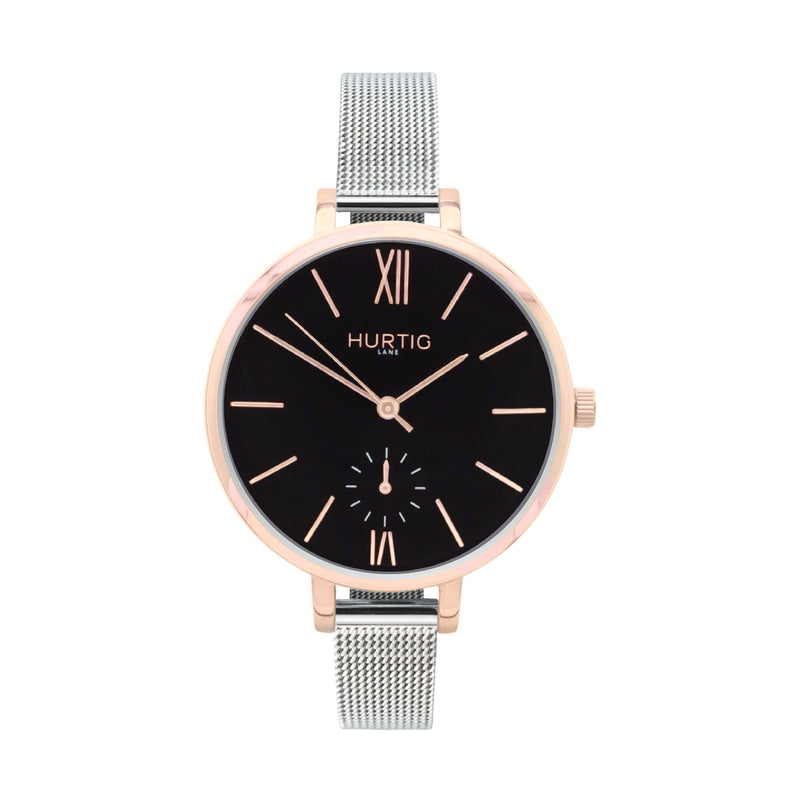ethical mesh watch rosegold, black and silver