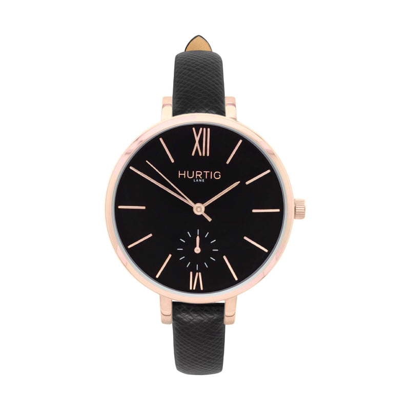 damen vegane uhr. women's vegan watch. Rose gold, black and black