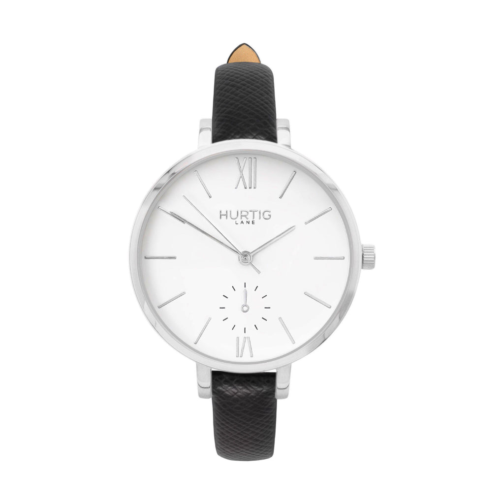 vegane uhr hurtig lane, silver, white and black vegan leather petite women's vegan watch